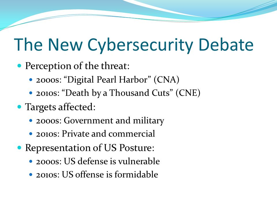 The New Cybersecurity Debate Perception of the threat: 2000s: Digital Pearl Harbor (CNA) 2010s: Death by a Thousand Cuts (CNE) Targets affected: 2000s: Government and military 2010s: Private and commercial Representation of US Posture: 2000s: US defense is vulnerable 2010s: US offense is formidable