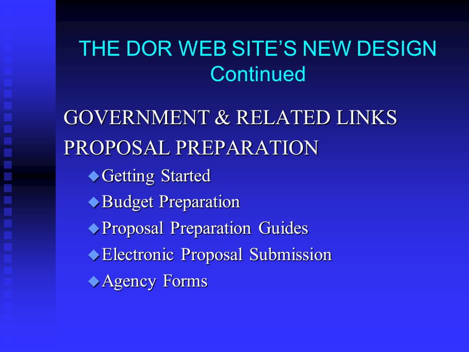 THE DOR WEB SITE'S NEW DESIGN available by 10/15/03 http://www.clarkson.edu/research COMPLIANCE u General Research Policies u Proposal Policies EDUCATION AND WORKSHOPS u Faculty Development u Graduate Research u Instructional Resources Available u Training Certification u Undergraduate Research u Workshops