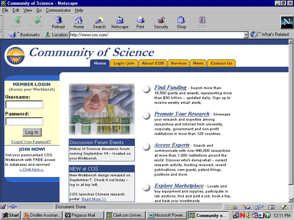 COMMUNITY OF SCIENCE u u Member Login u u Username/Password u u Find Funding u u Promote Your Research u u Access Experts u u Explore Marketplace