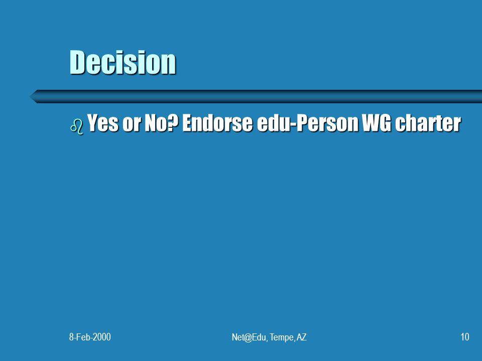 8-Feb-2000Net@Edu, Tempe, AZ10 Decision b Yes or No? Endorse edu-Person WG charter