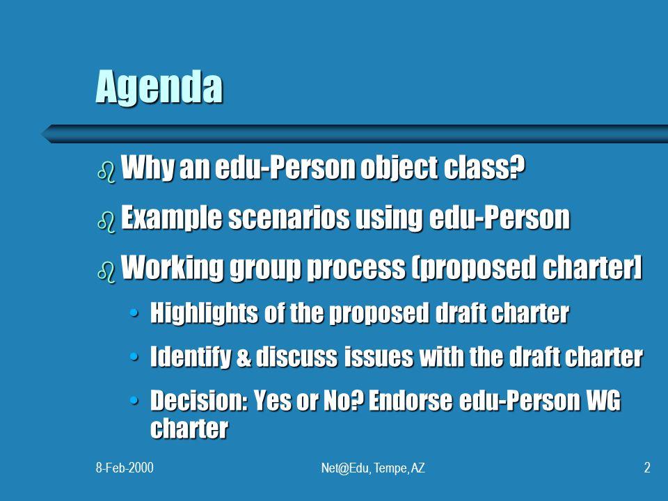 8-Feb-2000Net@Edu, Tempe, AZ2 Agenda b Why an edu-Person object class.