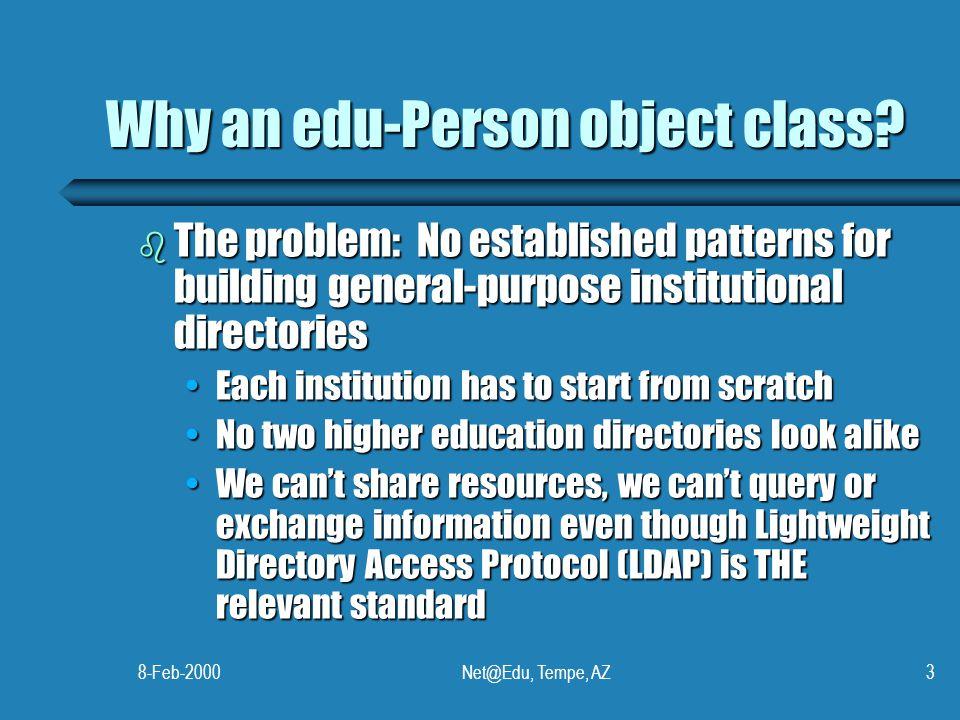 8-Feb-2000Net@Edu, Tempe, AZ3 Why an edu-Person object class.