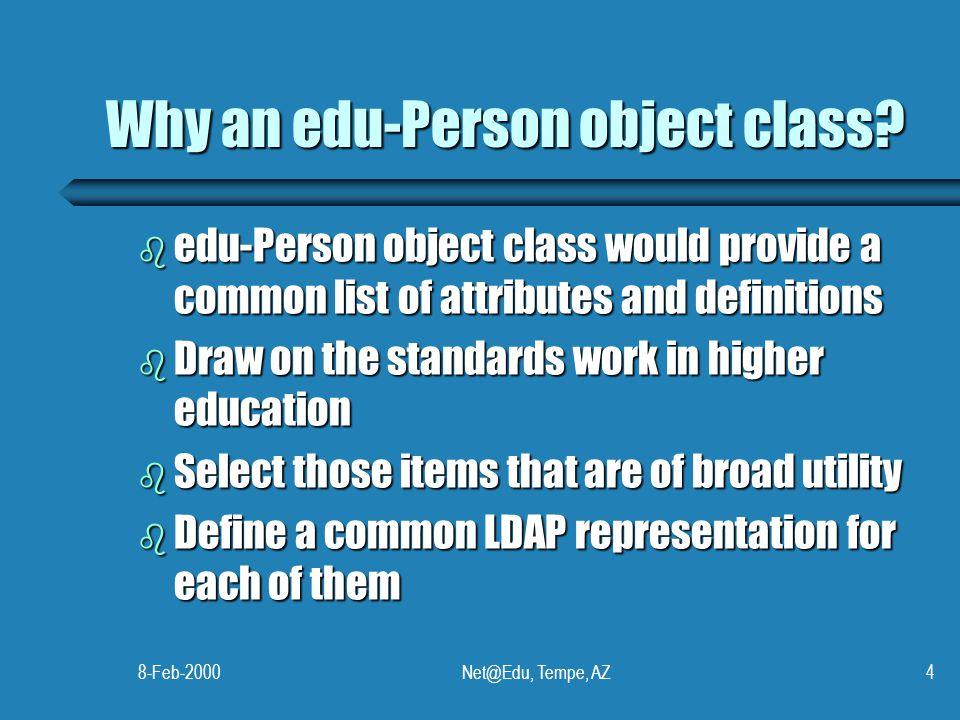 8-Feb-2000Net@Edu, Tempe, AZ4 Why an edu-Person object class.
