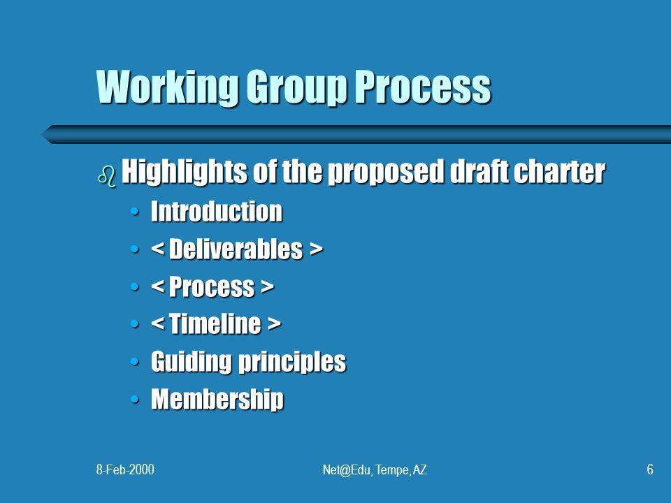 8-Feb-2000Net@Edu, Tempe, AZ6 Working Group Process b Highlights of the proposed draft charter IntroductionIntroduction Guiding principlesGuiding principles MembershipMembership