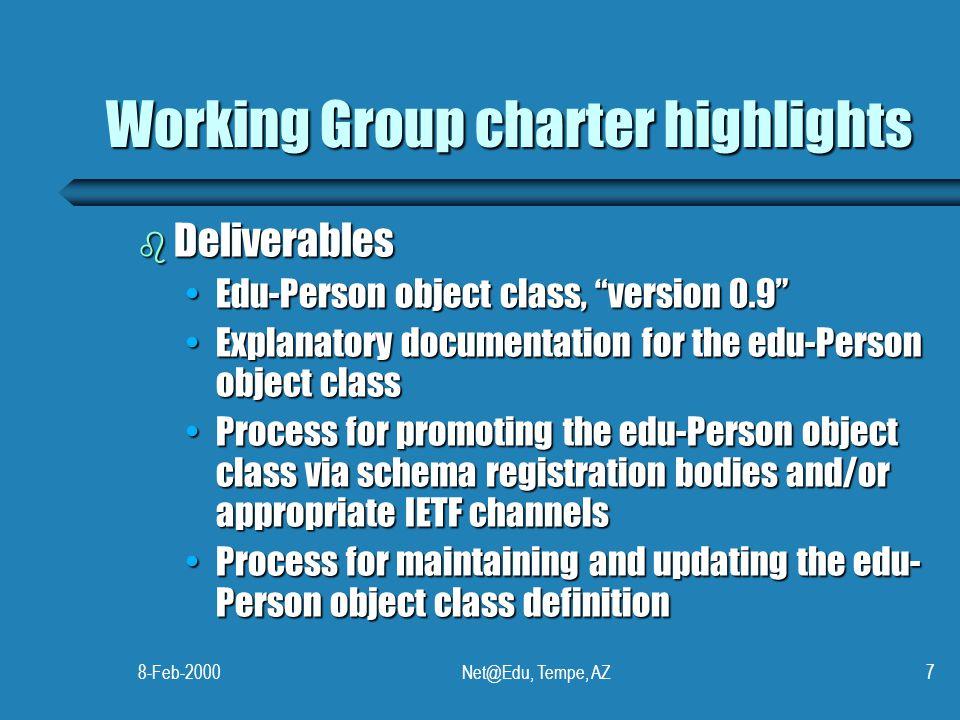 "8-Feb-2000Net@Edu, Tempe, AZ7 Working Group charter highlights b Deliverables Edu-Person object class, ""version 0.9""Edu-Person object class, ""version"
