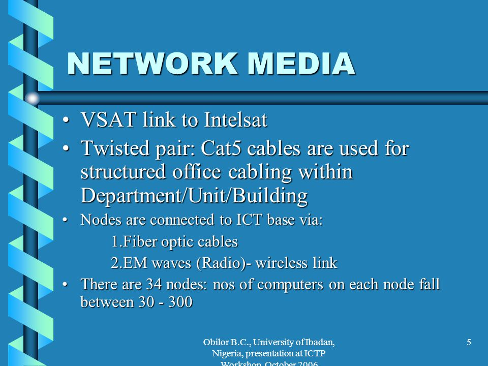Obilor B.C., University of Ibadan, Nigeria, presentation at ICTP Workshop, October 2006 5 NETWORK MEDIA VSAT link to IntelsatVSAT link to Intelsat Twi