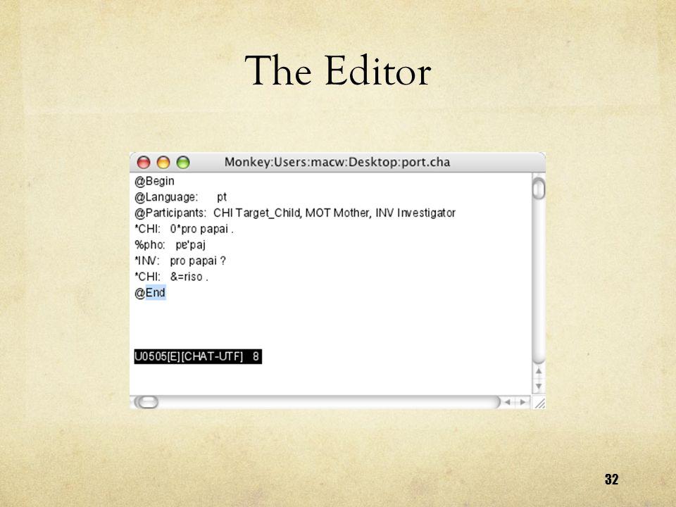 32 The Editor