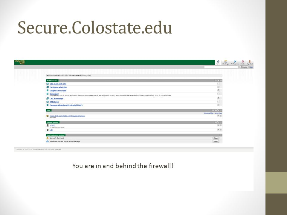 Secure.Colostate.edu Net Connect is launching some very important magic…so let it do it's thing .