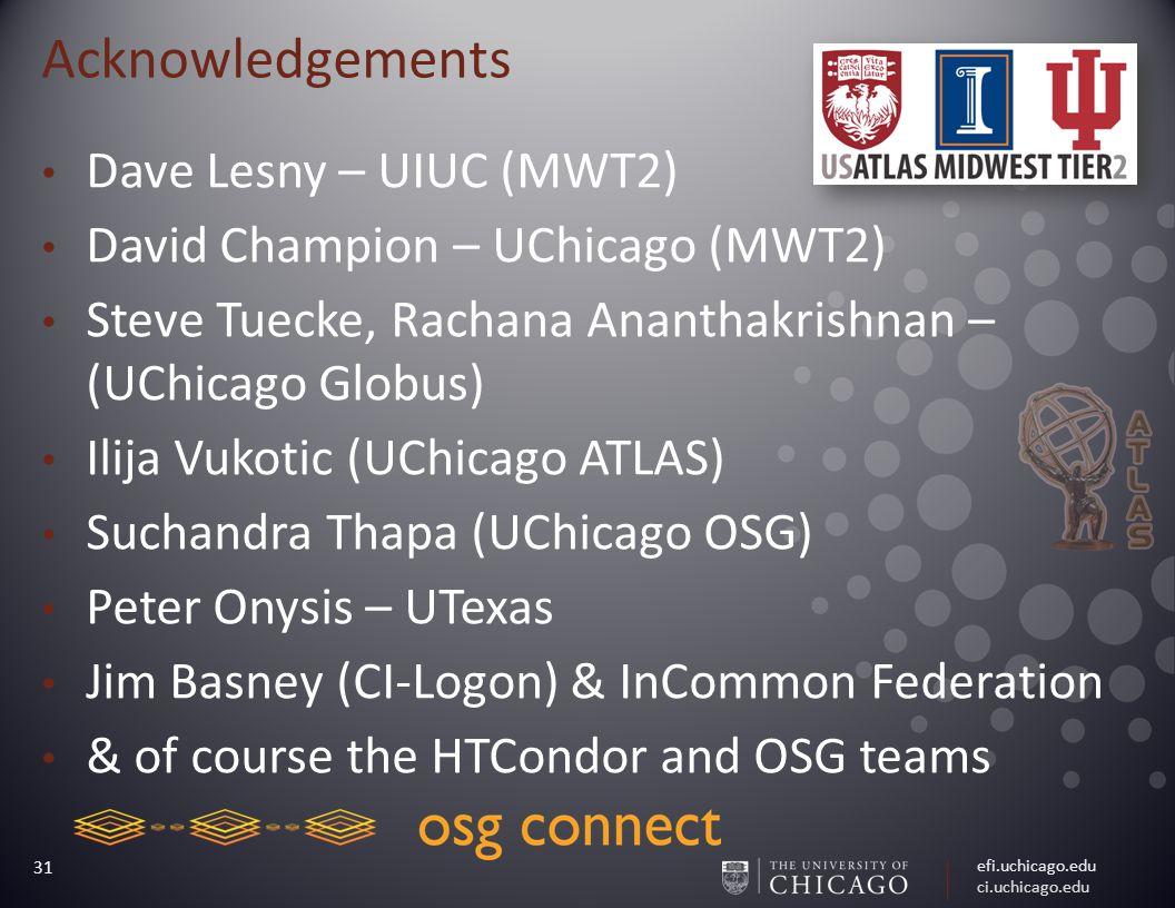 efi.uchicago.edu ci.uchicago.edu 31 Acknowledgements Dave Lesny – UIUC (MWT2) David Champion – UChicago (MWT2) Steve Tuecke, Rachana Ananthakrishnan – (UChicago Globus) Ilija Vukotic (UChicago ATLAS) Suchandra Thapa (UChicago OSG) Peter Onysis – UTexas Jim Basney (CI-Logon) & InCommon Federation & of course the HTCondor and OSG teams