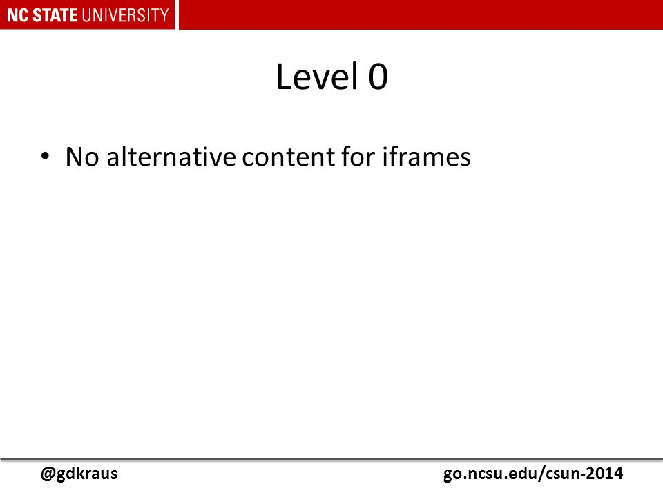 @gdkrausgo.ncsu.edu/csun-2014 Level 0 No alternative content for iframes