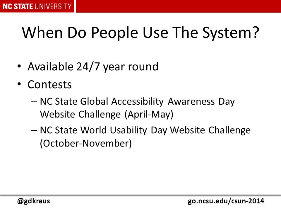 @gdkrausgo.ncsu.edu/csun-2014 When Do People Use The System? Available 24/7 year round Contests – NC State Global Accessibility Awareness Day Website