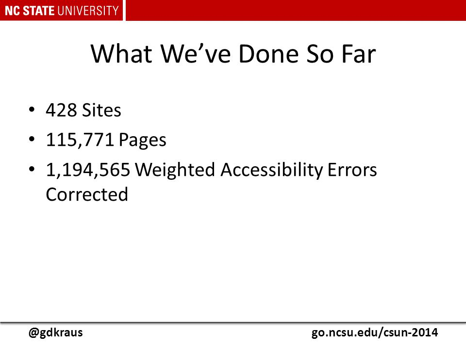 @gdkrausgo.ncsu.edu/csun-2014 What We've Done So Far 428 Sites 115,771 Pages 1,194,565 Weighted Accessibility Errors Corrected