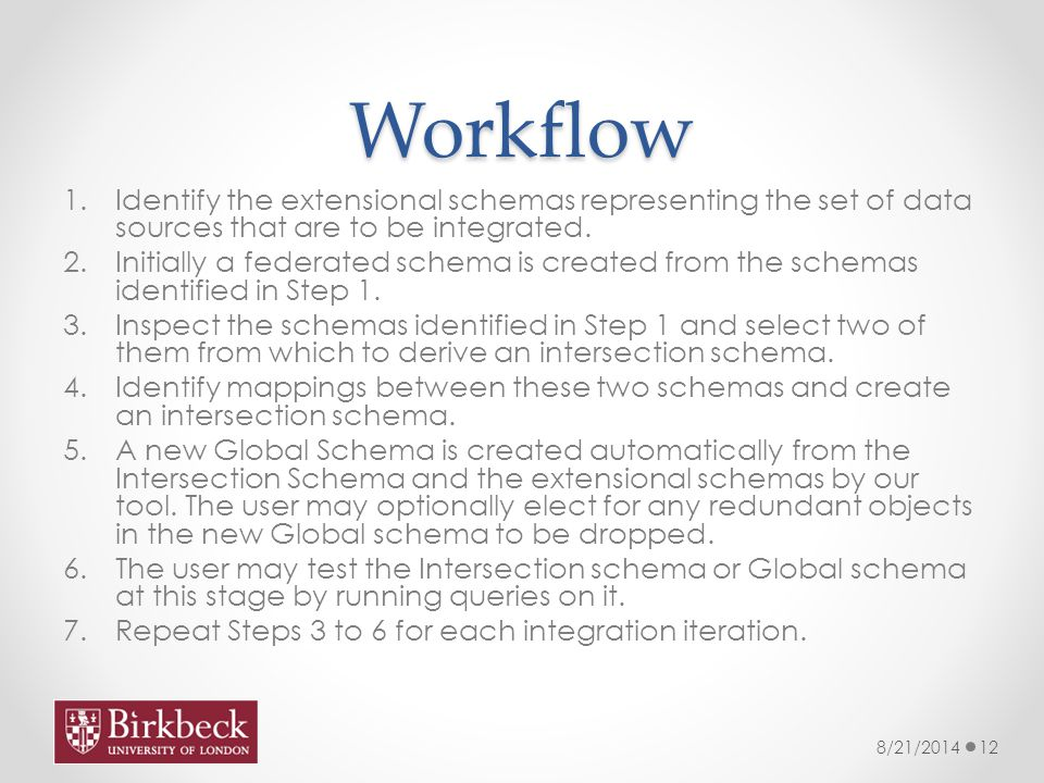 Workflow 1.Identify the extensional schemas representing the set of data sources that are to be integrated.