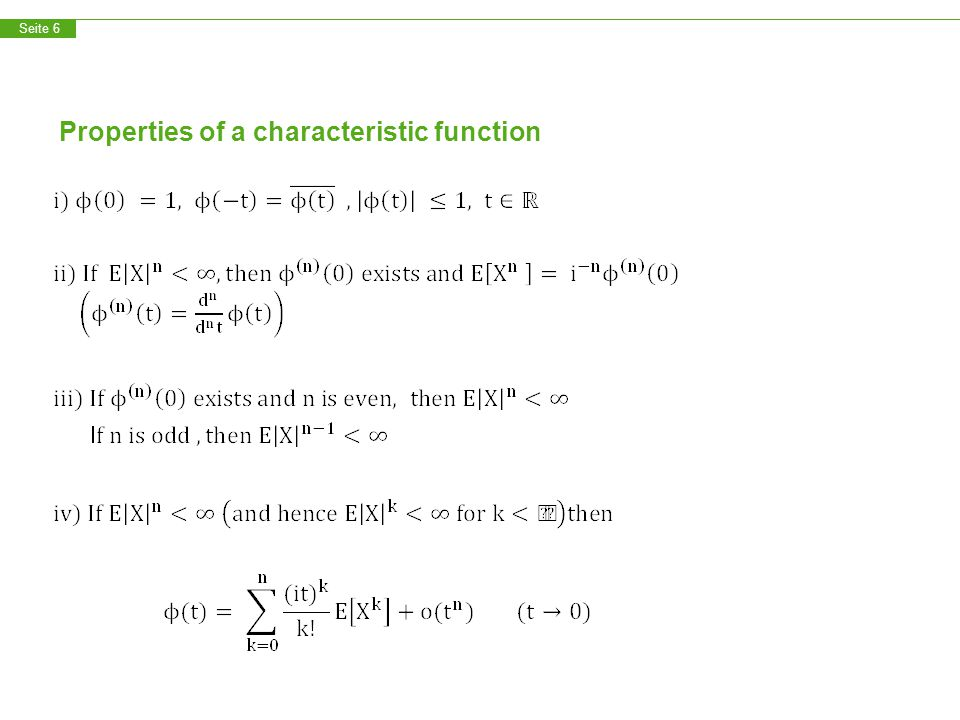 Seite 7 Properties of a characteristic function