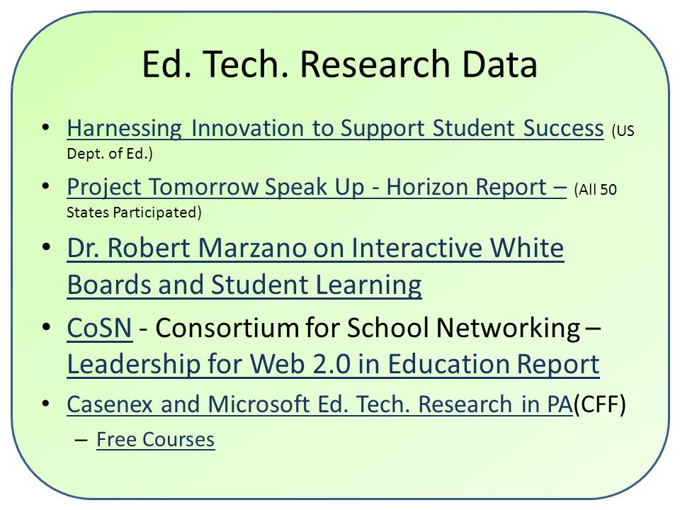 Ed. Tech. Research Data Harnessing Innovation to Support Student Success (US Dept.