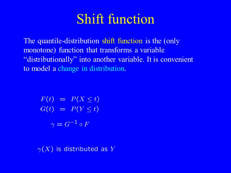Shift function The quantile-distribution shift function is the (only monotone) function that transforms a variable distributionally into another variable.