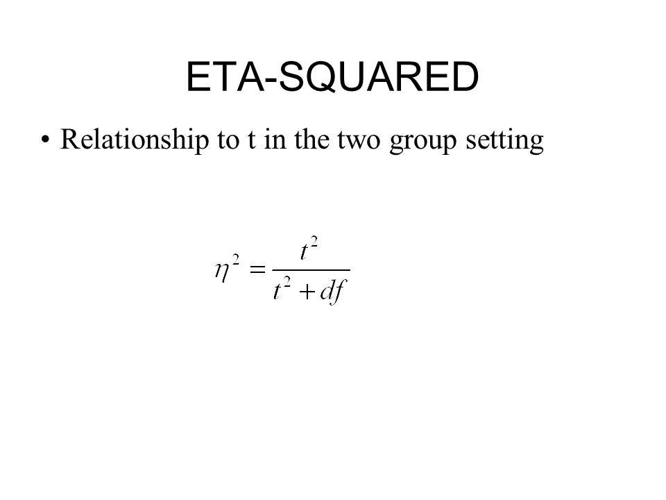 ETA-SQUARED Relationship to t in the two group setting