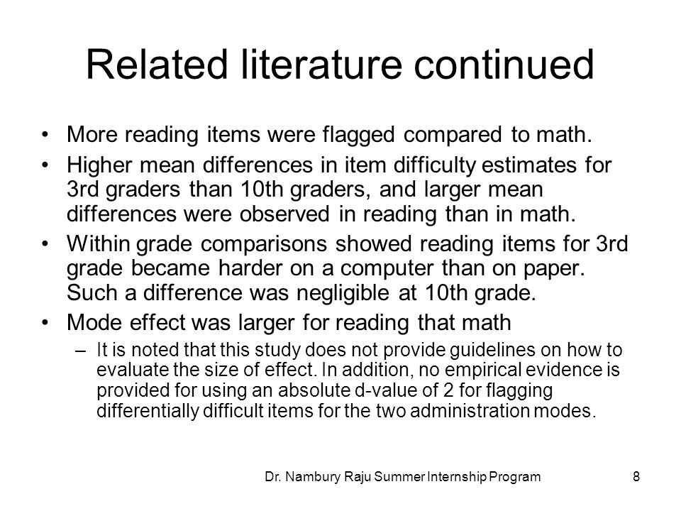 Related literature continued More reading items were flagged compared to math.