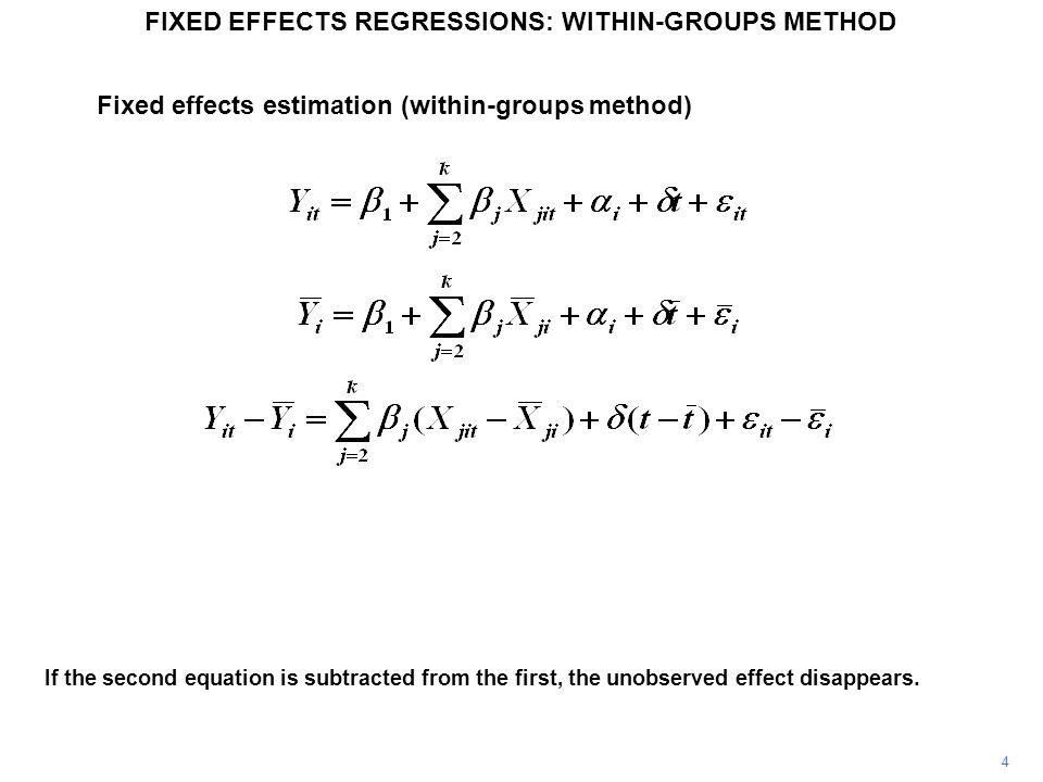 If the second equation is subtracted from the first, the unobserved effect disappears. Fixed effects estimation (within-groups method) FIXED EFFECTS R