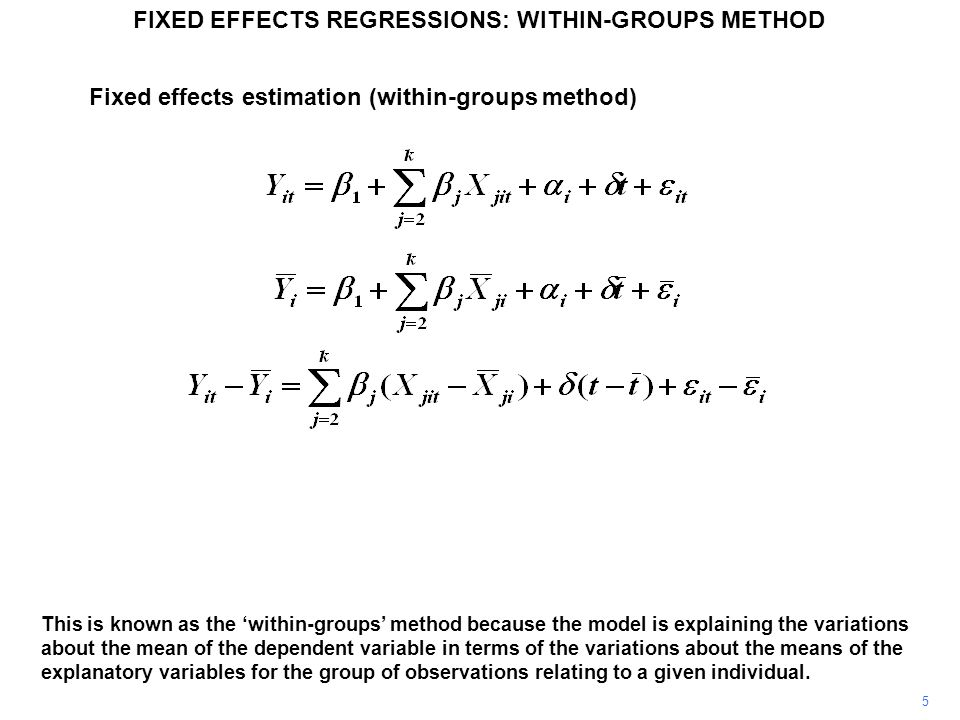 For individual i in time period t the model may be written as shown.