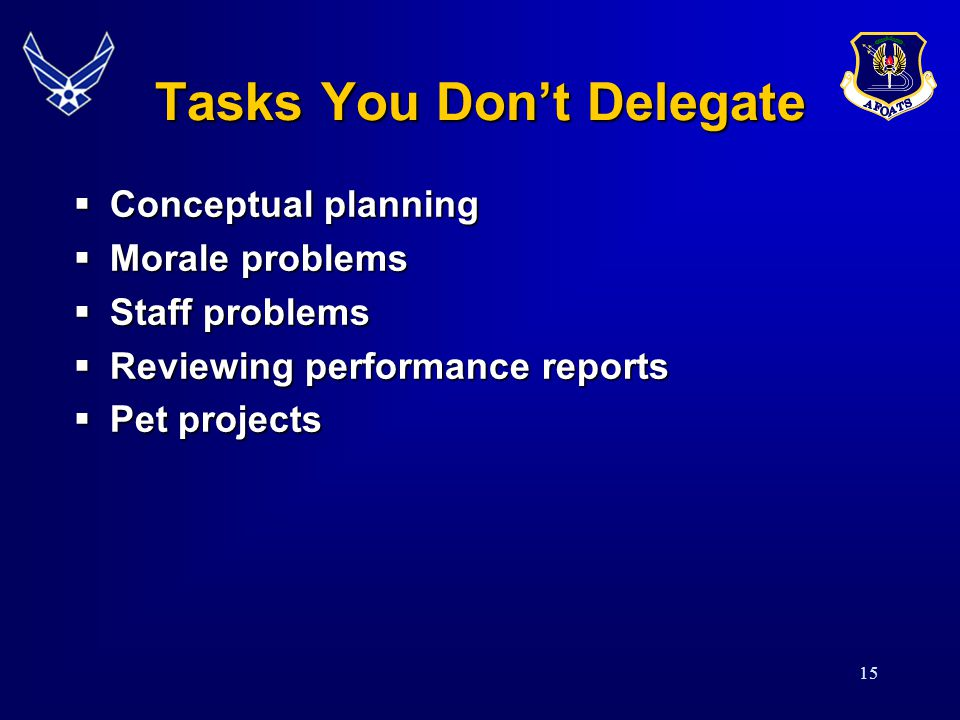 15 Tasks You Don't Delegate  Conceptual planning  Morale problems  Staff problems  Reviewing performance reports  Pet projects