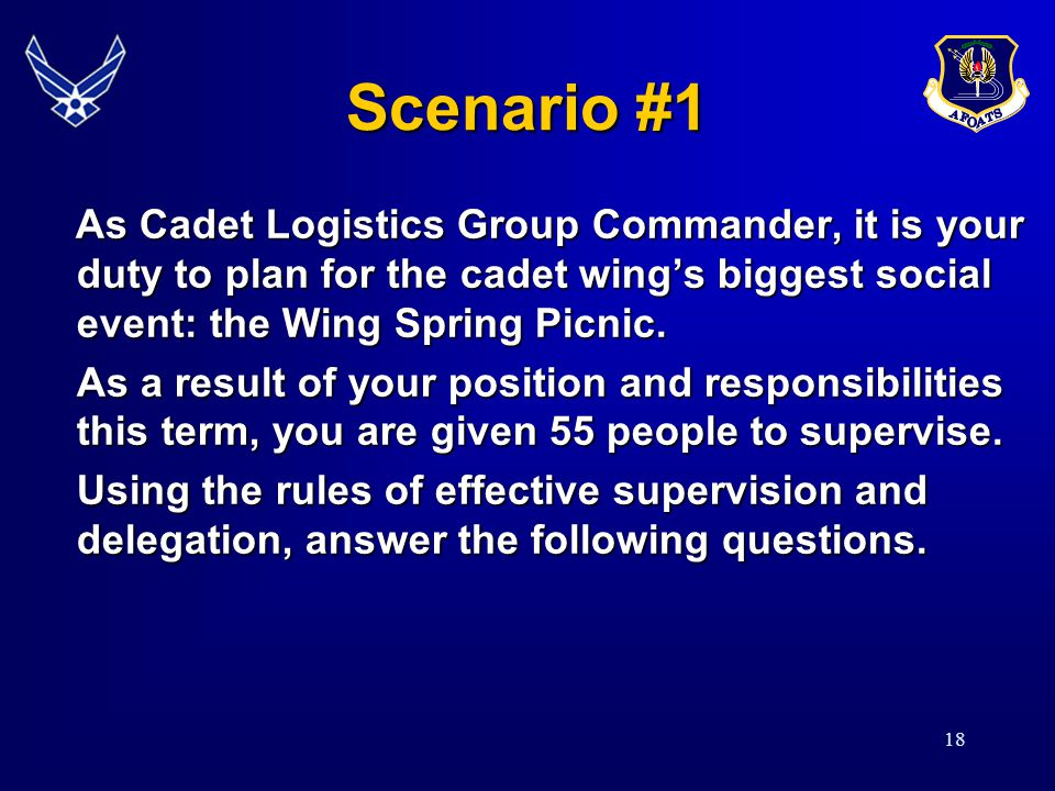 18 Scenario #1 As Cadet Logistics Group Commander, it is your duty to plan for the cadet wing's biggest social event: the Wing Spring Picnic. As Cadet