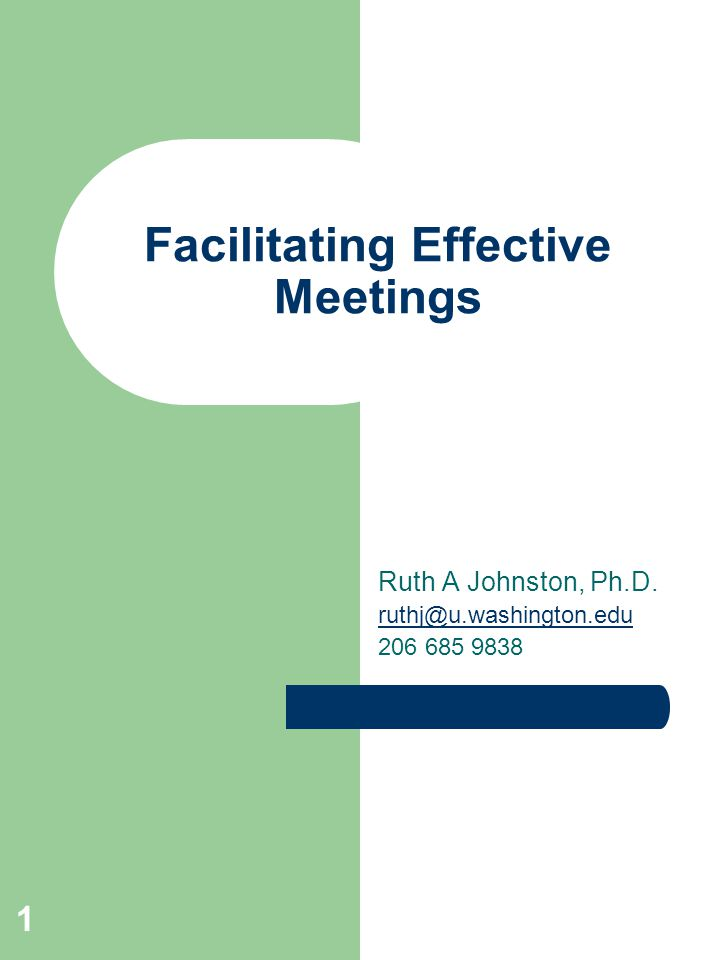 1 Facilitating Effective Meetings Ruth A Johnston, Ph.D. ruthj@u.washington.edu 206 685 9838