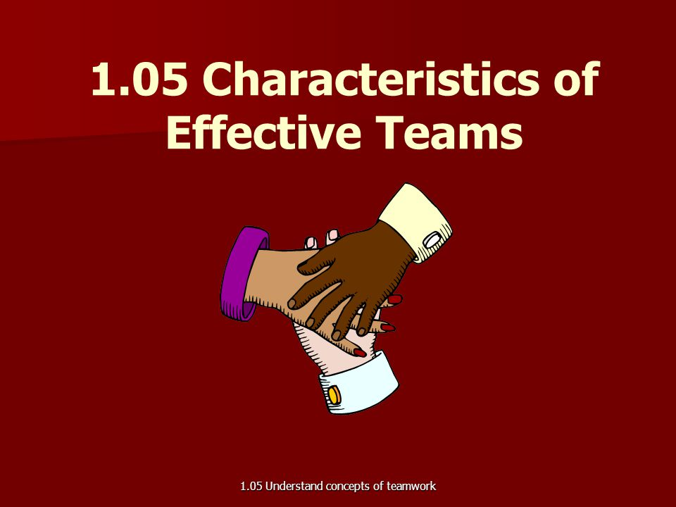 1.05 Characteristics of Effective Teams 1.05 Understand concepts of teamwork