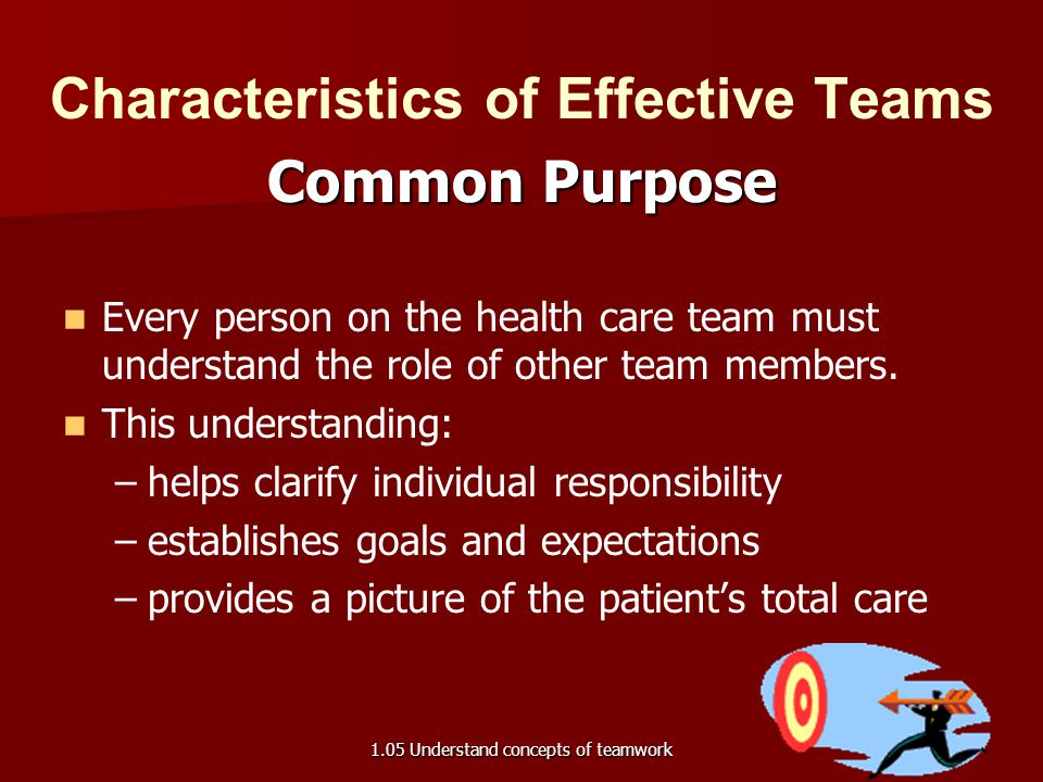 Characteristics of Effective Teams Common Purpose Every person on the health care team must understand the role of other team members. This understand