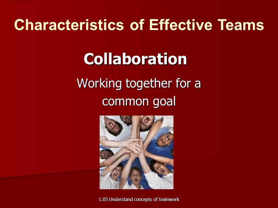 Working together for a common goal Collaboration Characteristics of Effective Teams 1.05 Understand concepts of teamwork