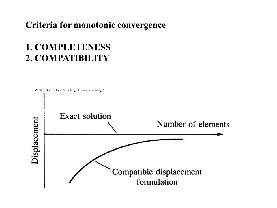 Criteria for monotonic convergence 1. COMPLETENESS 2. COMPATIBILITY © 2002 Brooks/Cole Publishing / Thomson Learning™