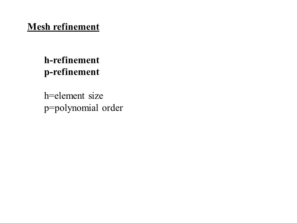 Mesh refinement h-refinement p-refinement h=element size p=polynomial order