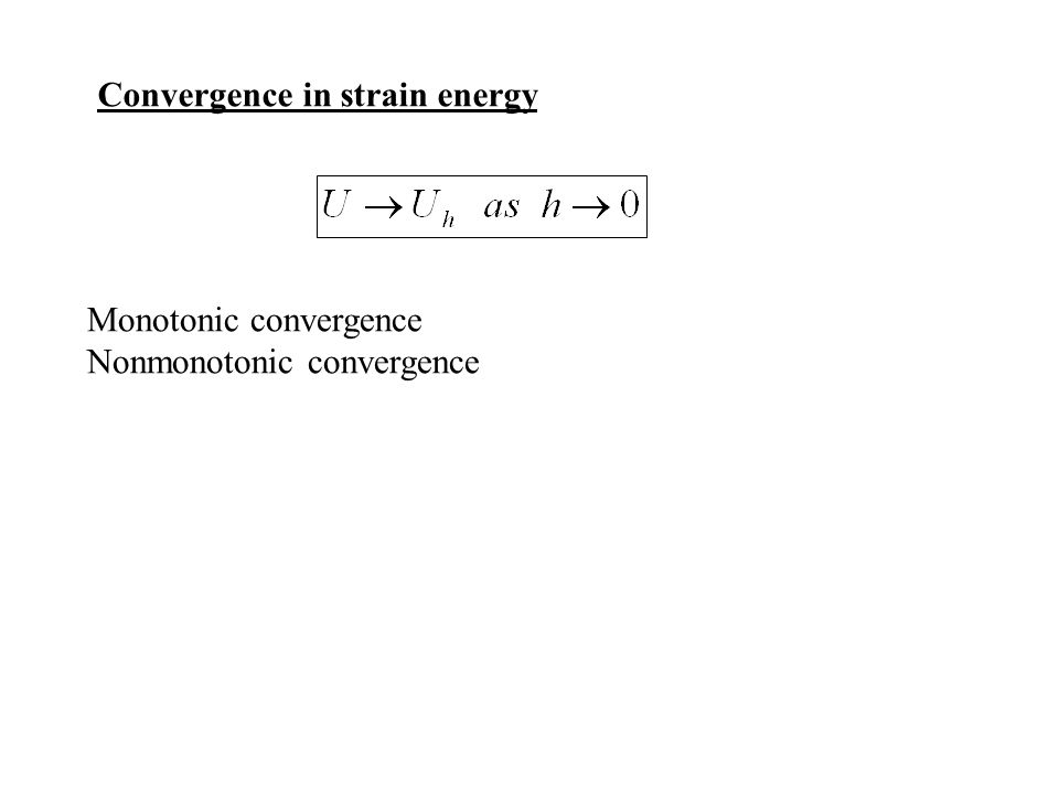 Convergence in strain energy Monotonic convergence Nonmonotonic convergence