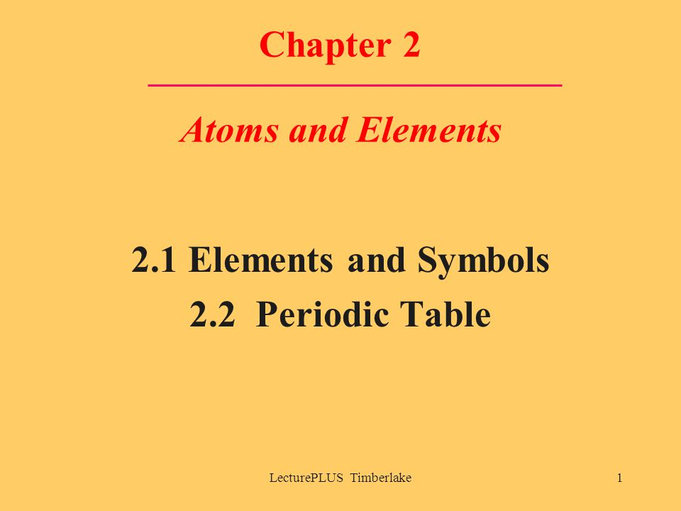 LecturePLUS Timberlake1 Chapter 2 Atoms and Elements 2.1 Elements and Symbols 2.2 Periodic Table