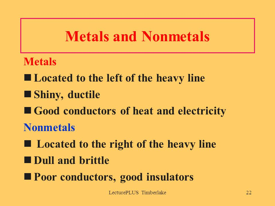 LecturePLUS Timberlake22 Metals and Nonmetals Metals Located to the left of the heavy line Shiny, ductile Good conductors of heat and electricity Nonmetals Located to the right of the heavy line Dull and brittle Poor conductors, good insulators