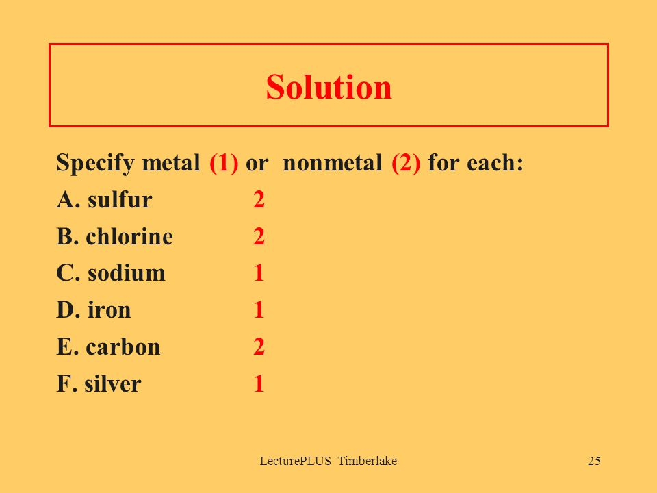 LecturePLUS Timberlake25 Solution Specify metal (1) or nonmetal (2) for each: A. sulfur2 B. chlorine2 C. sodium1 D. iron1 E. carbon2 F. silver1