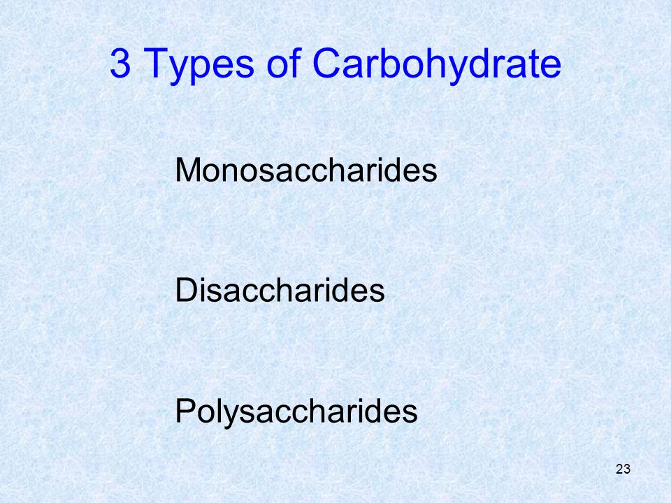3 Types of Carbohydrate Monosaccharides Disaccharides Polysaccharides 23
