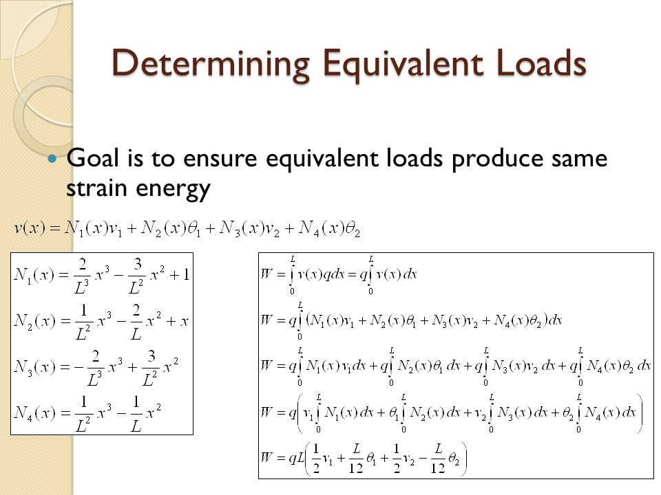 Determining Equivalent Loads Goal is to ensure equivalent loads produce same strain energy