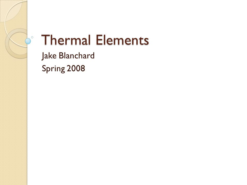 Thermal Elements These elements calculate temperatures in solids There are 1-D, 2-D, and 3-D elements All have just 1 DOF per node Properties are thermal conductivity (k) for steady state analysis and density (  ) and heat capacity (cp) for transient analyses Boundary conditions can be temperatures, heat fluxes, or radiation Volumetric heating is also possible