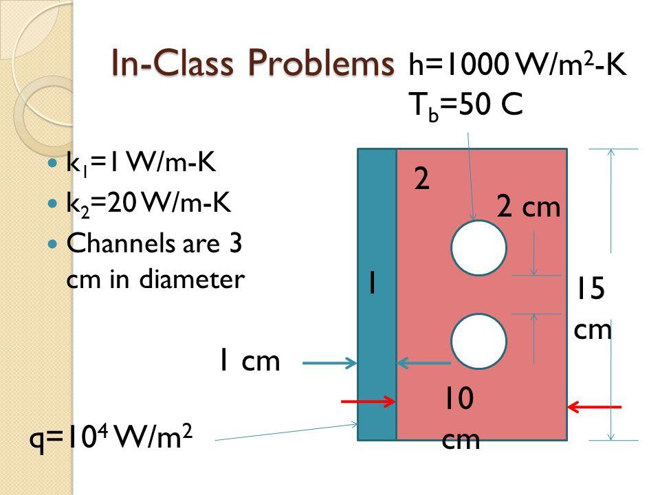 In-Class Problems k 1 =1 W/m-K k 2 =20 W/m-K Channels are 3 cm in diameter 2 1 10 cm 1 cm q=10 4 W/m 2 15 cm 2 cm h=1000 W/m 2 -K T b =50 C