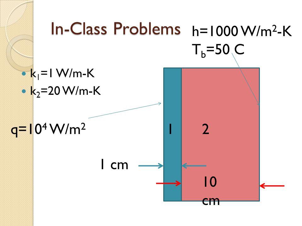 In-Class Problems k 1 =1 W/m-K k 2 =20 W/m-K 21 10 cm 1 cm q=10 4 W/m 2 h=1000 W/m 2 -K T b =50 C