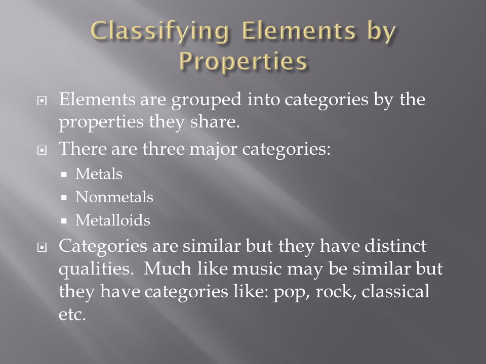  Elements are grouped into categories by the properties they share.  There are three major categories:  Metals  Nonmetals  Metalloids  Categorie