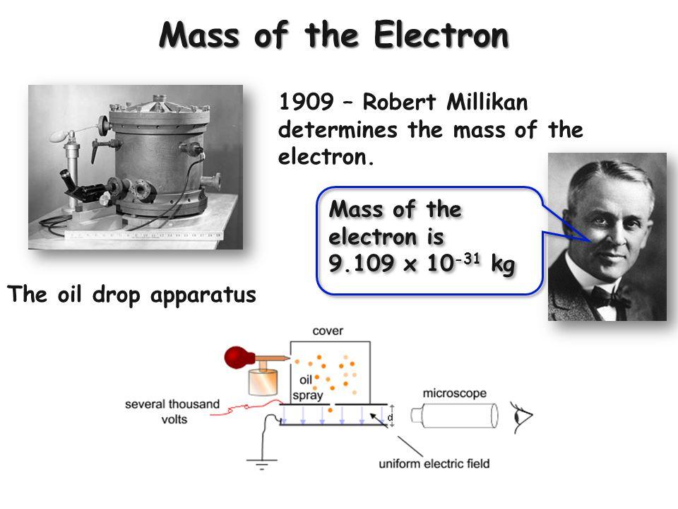 Mass of the Electron 1909 – Robert Millikan determines the mass of the electron. The oil drop apparatus Mass of the electron is 9.109 x 10 -31 kg Mass
