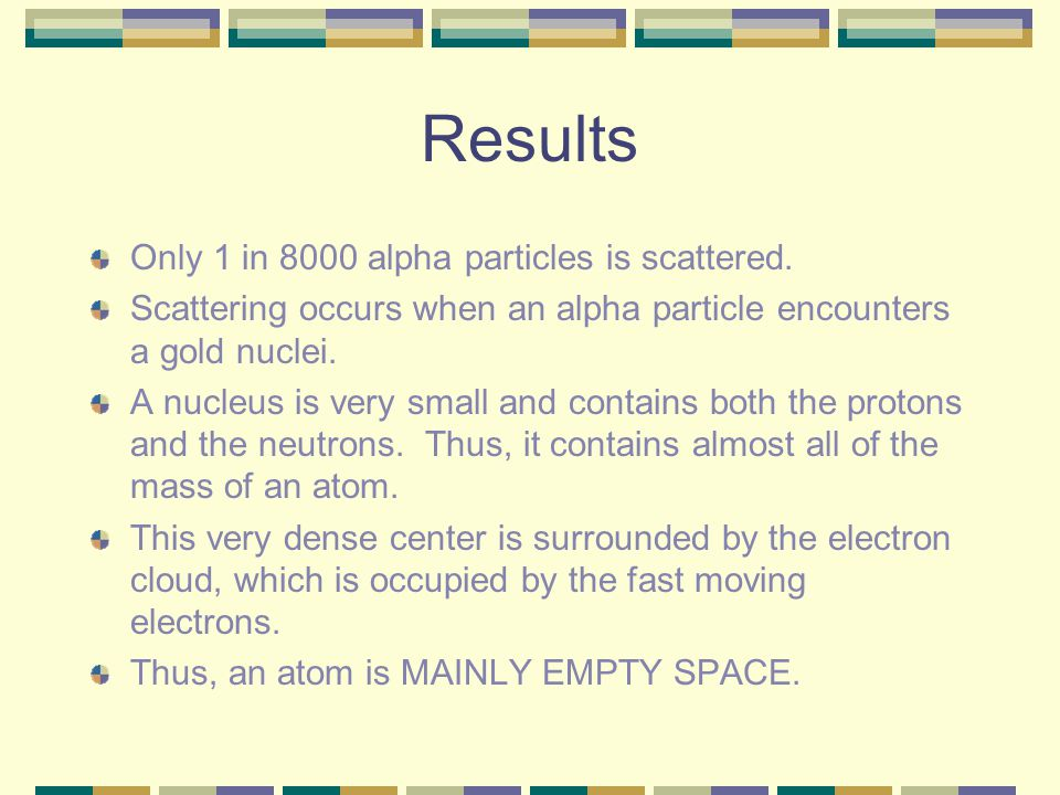 Results Only 1 in 8000 alpha particles is scattered. Scattering occurs when an alpha particle encounters a gold nuclei. A nucleus is very small and co