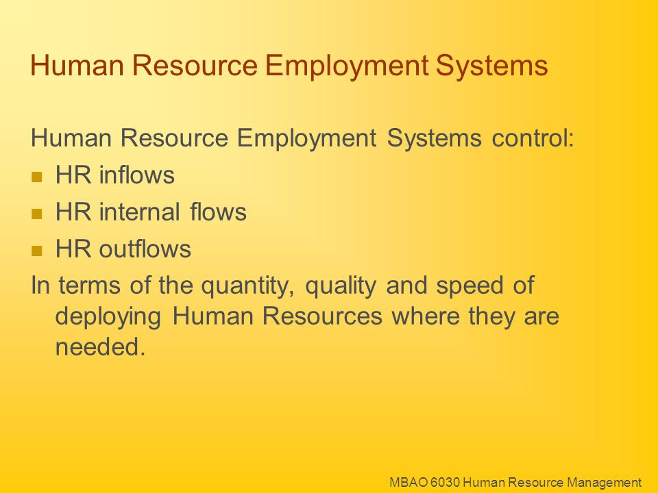 MBAO 6030 Human Resource Management Human Resource Employment Systems In and Out System Entry Level