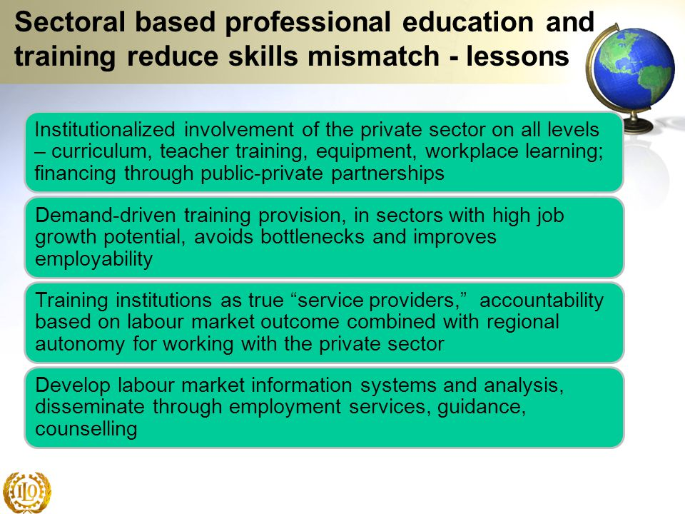 Sectoral based professional education and training reduce skills mismatch - lessons Institutionalized involvement of the private sector on all levels