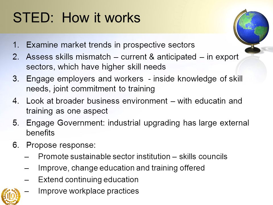 STED: How it works 1.Examine market trends in prospective sectors 2.Assess skills mismatch – current & anticipated – in export sectors, which have hig