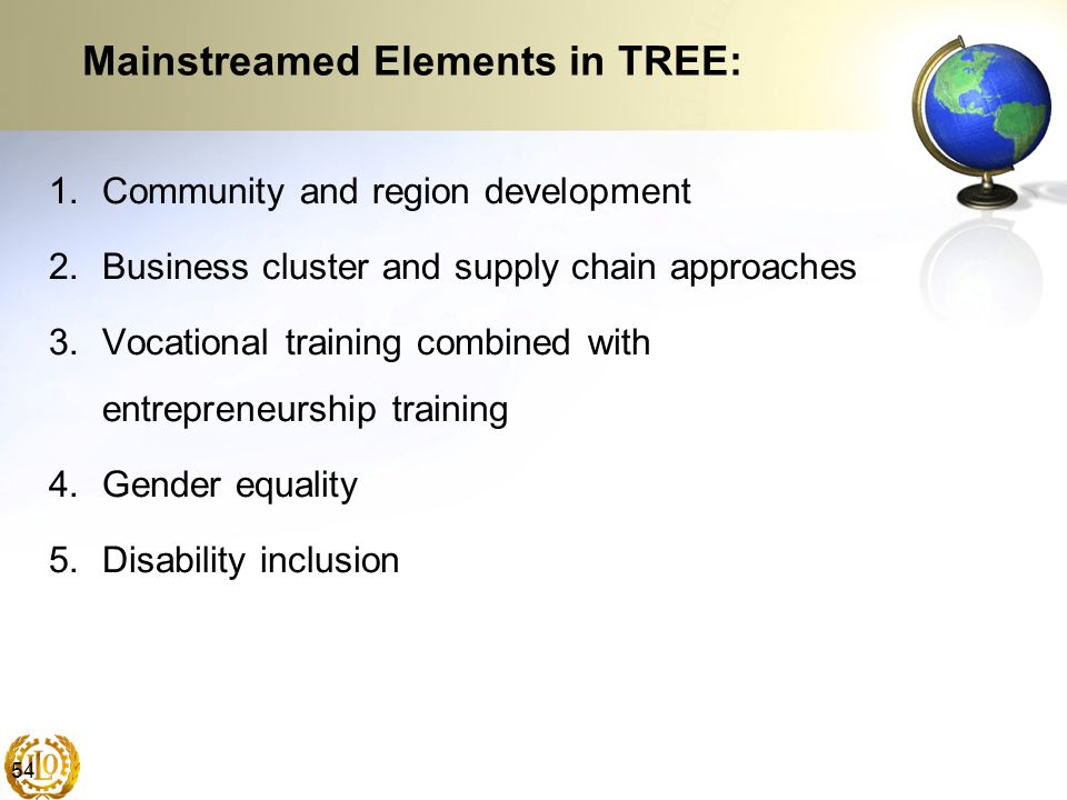 54 Mainstreamed Elements in TREE: 1.Community and region development 2.Business cluster and supply chain approaches 3.Vocational training combined wit