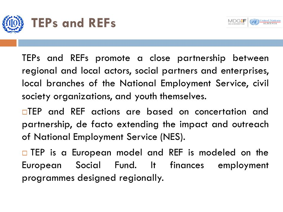 TEPs and REFs TEPs and REFs promote a close partnership between regional and local actors, social partners and enterprises, local branches of the National Employment Service, civil society organizations, and youth themselves.