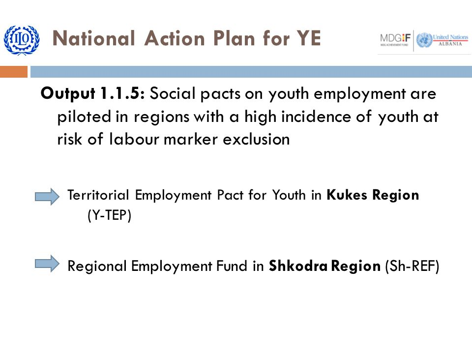 National Action Plan for YE Output 1.1.5: Social pacts on youth employment are piloted in regions with a high incidence of youth at risk of labour marker exclusion Territorial Employment Pact for Youth in Kukes Region (Y-TEP) Regional Employment Fund in Shkodra Region (Sh-REF)